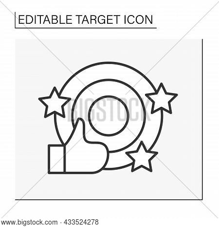 Goal Line Icon. Object With Concentric Circles For Shooting Practice Or Contests. Goals Achieved. Ta