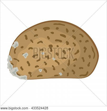 Hand-drawn Piece Of Dark Bread Isolated On White Background.  Vector Illustration