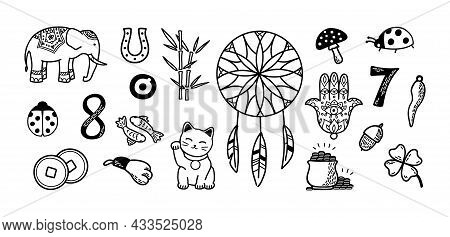 Good Luck And Fortune Big Symbols Set. European And Asian Talismans And Charms Doodle Vector Illustr