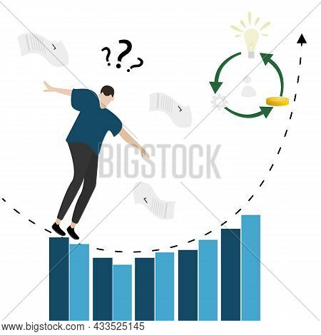 Vector Illustration Of A Cartoon Character Of An Investor, A Businessman Who Is On The Verge Of Disa