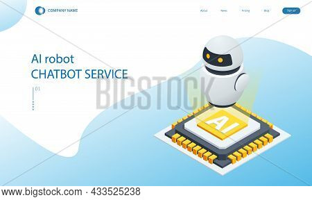 Isometric Artificial Intelligence. Chat Bot And Future Marketing. Ai And Business Iot