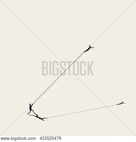Business Struggle And Holding Back Vector Concept. Symbol Of Obstacle, Challenge. Minimal Illustrati