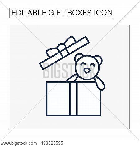 Present Line Icon. Gift Box With Teddy Bear Inside. Birthday Congratulation, Surprise In Box. Celebr