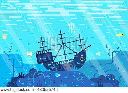Vector Cartoon Illustration Of Deep Seafloor With Marine Wildlife And Shipwrecked Boat