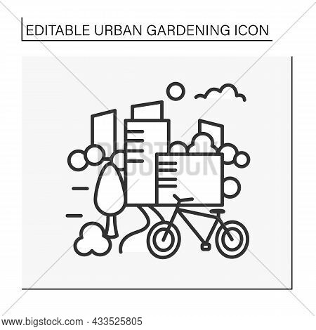 Park Line Icon. Modern Garden Space Inside The City Center. Perfect Place For Bike Riding, Spending