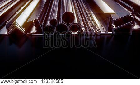 Glowing Metal Profile And Rebar , Cg Industrial 3d Illustration