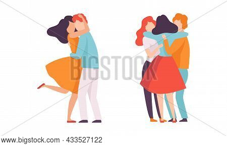 People Characters Embracing Each Other Soothing And Supporting Vector Illustration Set
