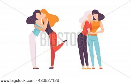 Woman Embracing Each Other Soothing And Supporting Vector Illustration Set
