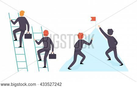 Business And Career Competition With Man Office Worker Having Rivalry Climbing Ladder And Mountain R
