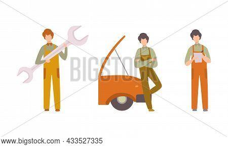 Man Mechanic In Overall Maintaining And Repairing Machinery Vector Set
