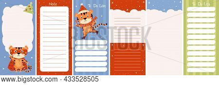 Winter Set Of Weekly Or Daily Planner, Note Paper, To-do List Decorated With A Cute Winter Tiger On