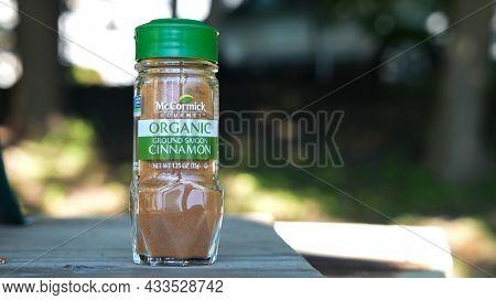 NORWALK, CT, USA - SEPTEMBER 19, 2021:  Organic ground saigon cinnamon from McCormick on table outside