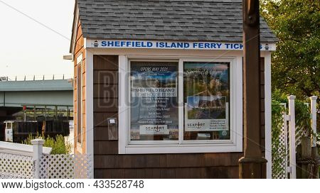 NORWALK, CT, USA - SEPTEMBER 12, 2021: Ticket sale  fer Sheffield Island lighthouse ferry