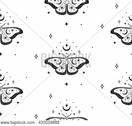 Abstract Background Seamless Pattern Moth And Moon