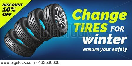 Car Tires Shop Banner With Discount Offer, Blue Background. Brochure Template With Automobile Wheels