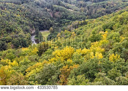 Bird-view Over Valley Of River Called Jihlava And Surrounding Forests In Beginning Of Autumn - Czech
