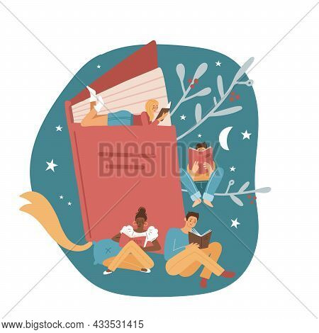 Poster Or Banner With Different Small Male And Female Characters. Book Festival Concept Of A Tuny Pe