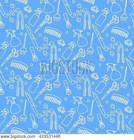 Vector Seamless Pattern Illustration Professional Hairdresser Tools Barbershop Beauty Hairdressing S