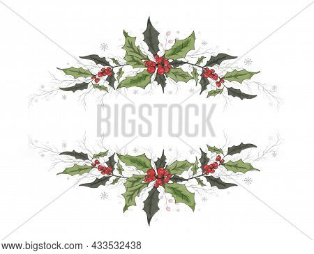 Modern Flower Banner With Space For Text. Element Of Winter Decor. Holly Decoration Isolated On A Wh