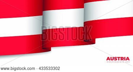 Austria Flag Waving Vector Illustration. Good Template For Austria Independence Day Or National Day