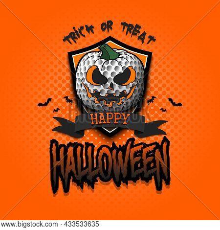 Happy Halloween. Logo Golf Ball As Pumpkin