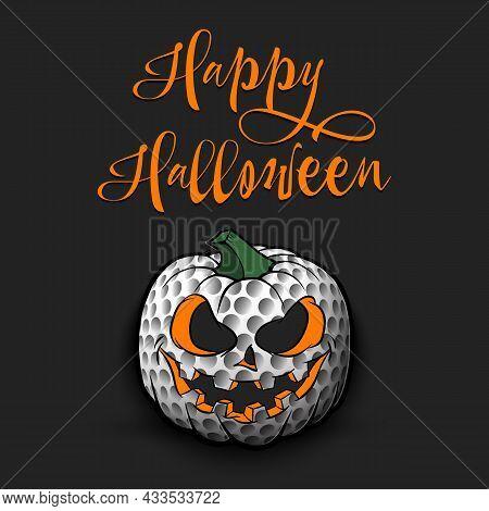 Happy Halloween. Golf Ball As Pumpkin