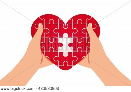 Heart Health Puzzle Social Care With Jigsaw Pieces Heart As Charity And Help Tiny Person Concept Wor