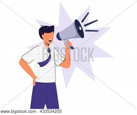 Professional Speaker With Megaphone Vector Illustration Flat Design Style Man Holding Megaphone And