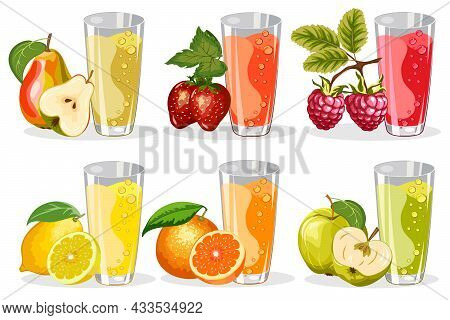 A Set Of Glasses With Juices.berries And Fruits, Juices In Glasses In Color Vector Set.