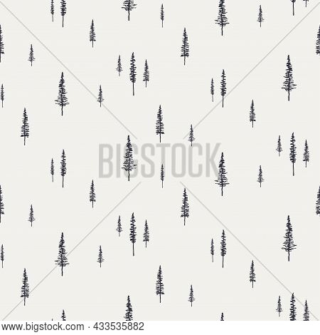 Spruce, Fir Trees Silhouettes, Minimal Winter Seamless Pattern, Black On Gray Background. Hand Drawn