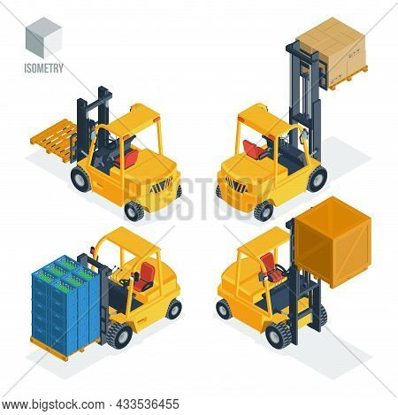 Forklift Truck: With Empty Pallet, With Cartons, With Boxes Of Bottles, With Plywood Container. Set