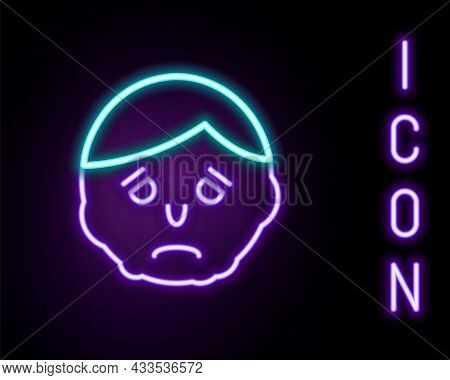 Glowing Neon Line Inflammation On Face Icon Isolated On Black Background. Colorful Outline Concept.