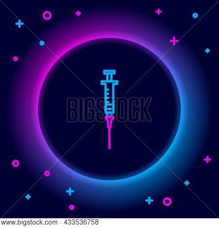 Glowing Neon Line Syringe Icon Isolated On Black Background. Syringe For Vaccine, Vaccination, Injec