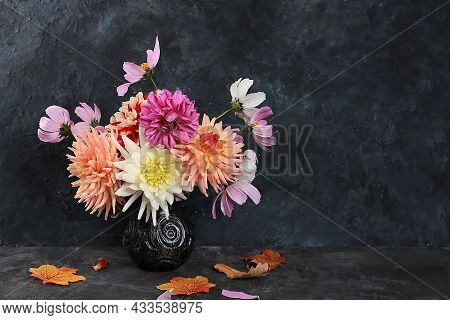 Dahlias And Daisies In A Vase On A Dark Old Grunge Background.autumn Abstract Composition, Thanksgiv