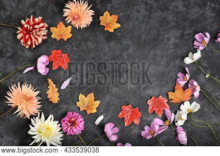 Autumn Abstract Composition, Dahlias, Leaves, Chamomile On A Dark Old Grunge Background. Thanksgivin