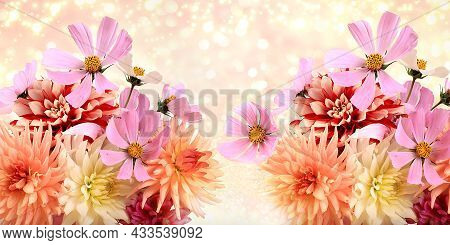 Autumn Abstract Composition With Flowers Of Dahlias And Daisies In A Vase On Blurred Bokeh Backgroun
