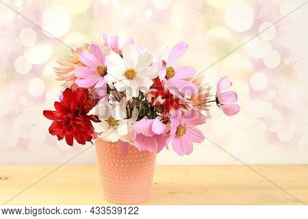 Dahlias And Daisies In A Vase On A Blurred Bokeh Background.autumn Abstract Composition, Thanksgivin