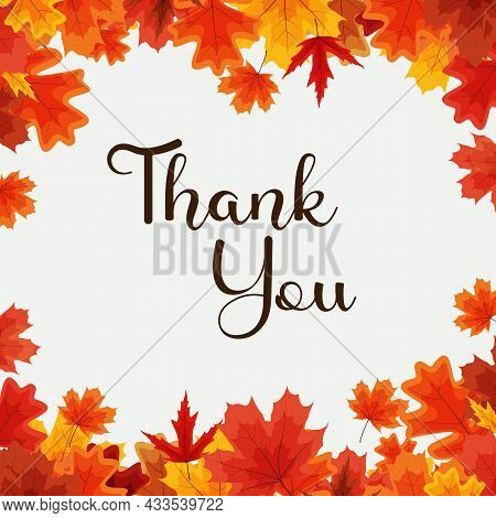 Thank You Autumn Natural Background Template With Falling Leaves