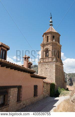 Beautiful Mudejar Tower. No People, Sunny Day. Albarracin, Teruel, Spain.europe