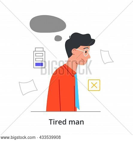 Tired Young Male Character Is Trying Not To Fall Asleep On The Way To Work On White Background. Conc