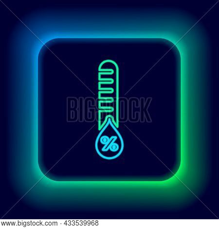 Glowing Neon Line Humidity Icon Isolated On Black Background. Weather And Meteorology, Thermometer S