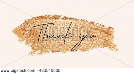 Thank You Autumn Natural Background Template With Golden Glitter Splash. Vector Illustration