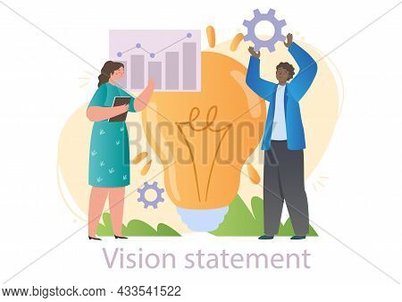 Male And Female Characters Are Working On Vision Statement In Office Together On White Background. C