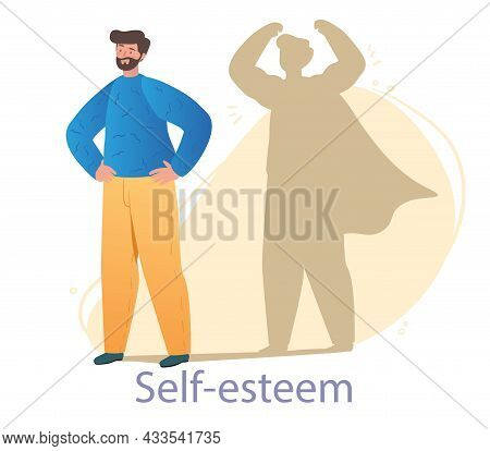 Bearded Male Character Is Standing With Confident Version Of Himself As A Shadow Behind On White Bac