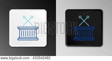 Line Musical Instrument Drum And Drum Sticks Icon Isolated On Grey Background. Colorful Outline Conc