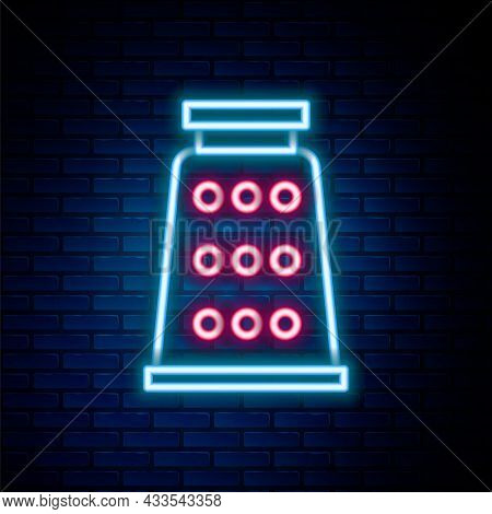 Glowing Neon Line Grater Icon Isolated On Brick Wall Background. Kitchen Symbol. Cooking Utensil. Cu