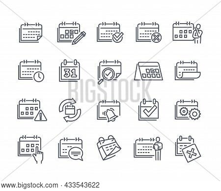 Set Of Linear Calendar Related Essential Icons On White Background. Concept Of Appointment, Date Set