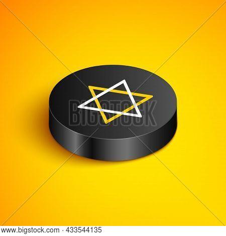 Isometric Line Star Of David Icon Isolated On Yellow Background. Jewish Religion Symbol. Symbol Of I