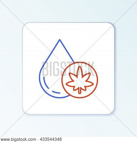Line Medical Marijuana Or Cannabis Leaf Olive Oil Drop Icon Isolated On White Background. Cannabis E