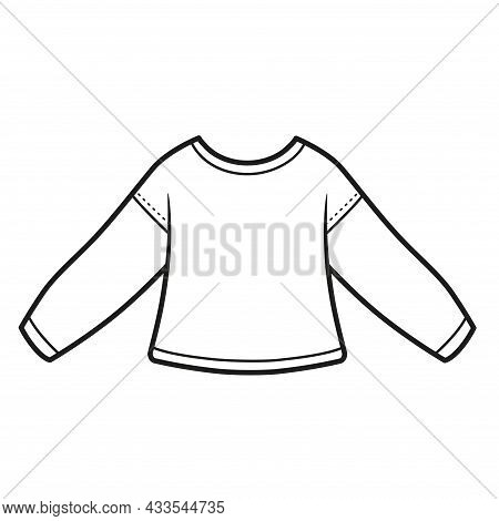 Basic Long-sleeved Sport T-shirt Outline For Coloring On A White Background